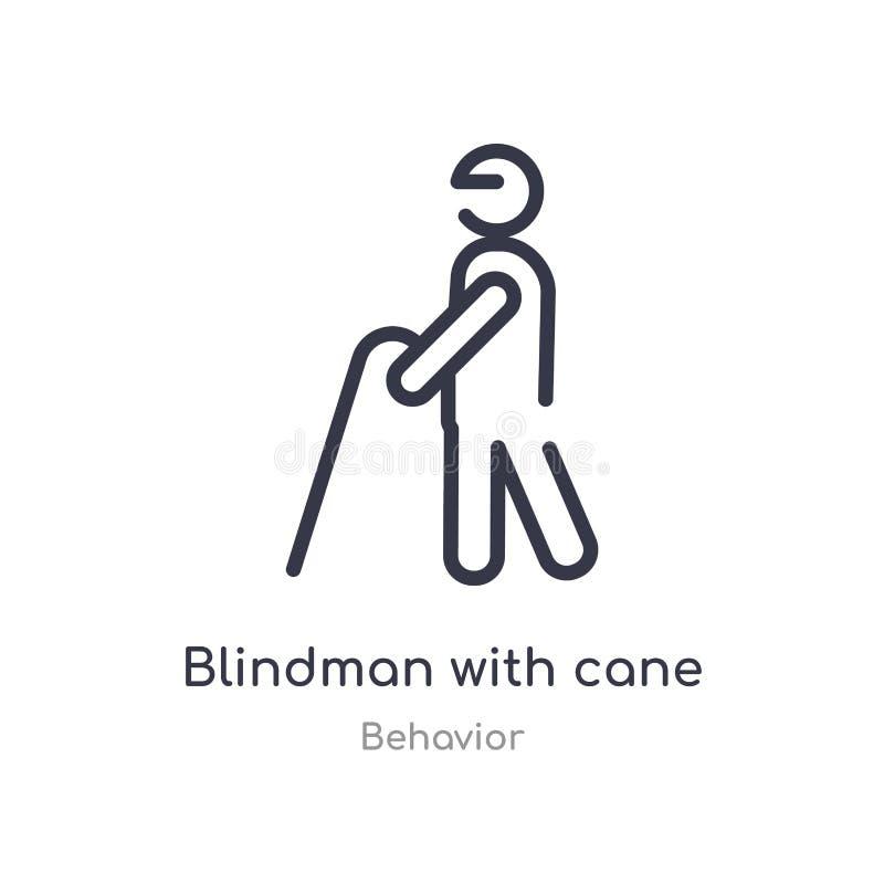blindman z trzcina konturu ikoną odosobniona kreskowa wektorowa ilustracja od zachowanie kolekcji editable cienieje uderzenia bli ilustracja wektor