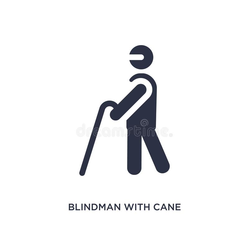blindman z trzciny ikoną na białym tle Prosta element ilustracja od zachowania pojęcia ilustracja wektor