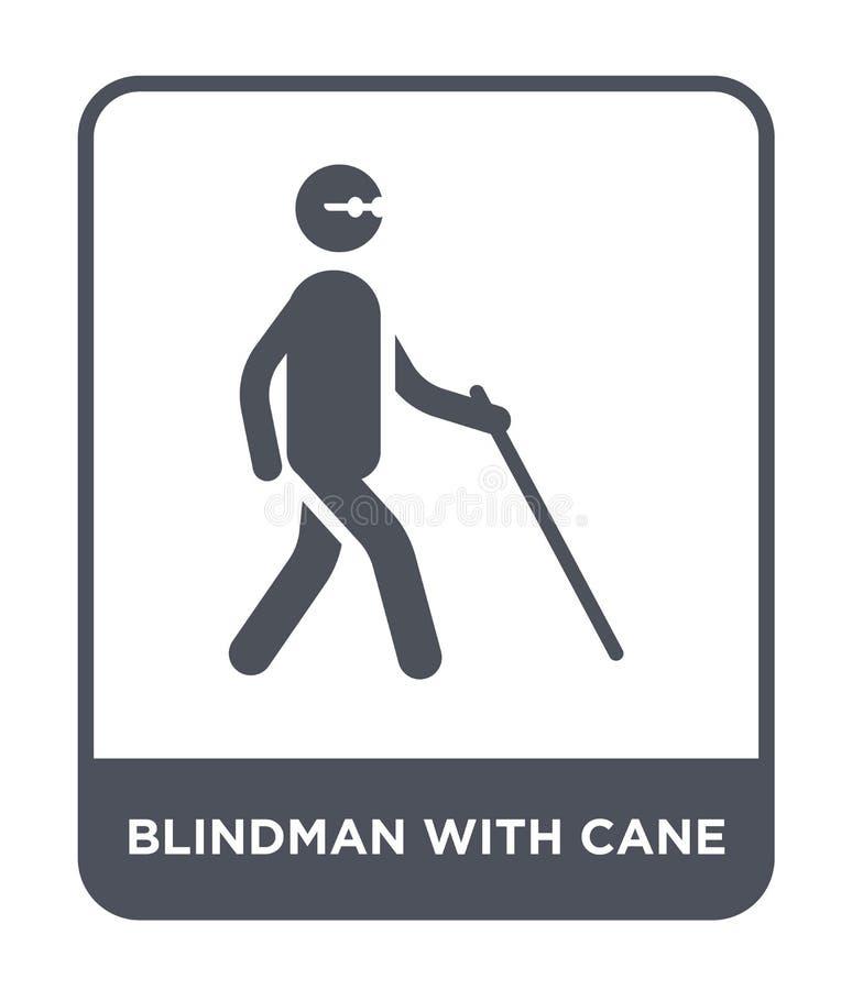 blindman z trzciny ikoną w modnym projekta stylu blindman z trzciny ikoną odizolowywającą na białym tle blindman z trzcina wektor royalty ilustracja