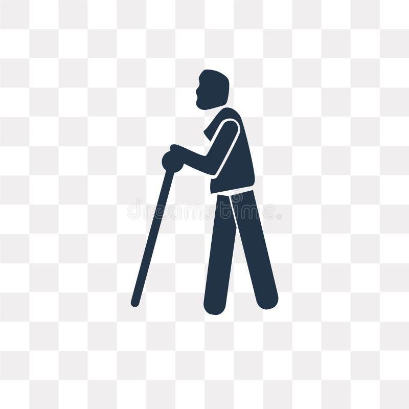 Blindman z trzciny wektorową ikoną odizolowywającą na przejrzystym backgroun royalty ilustracja
