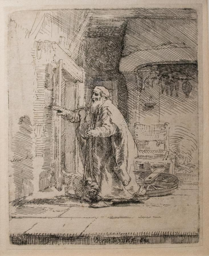 The Blindness of Tobit from 1651. by Rembrandt. The Blindness of Tobit from 1651. This is an impression from a reproduction plate. An graphic artwork make by vector illustration