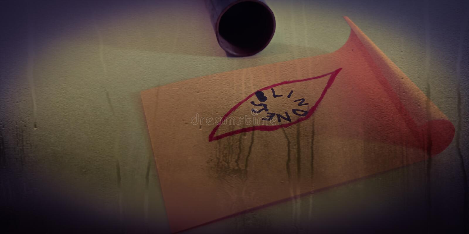 blindness word written under eye shape diagram on water steam abstract background royalty free stock photo