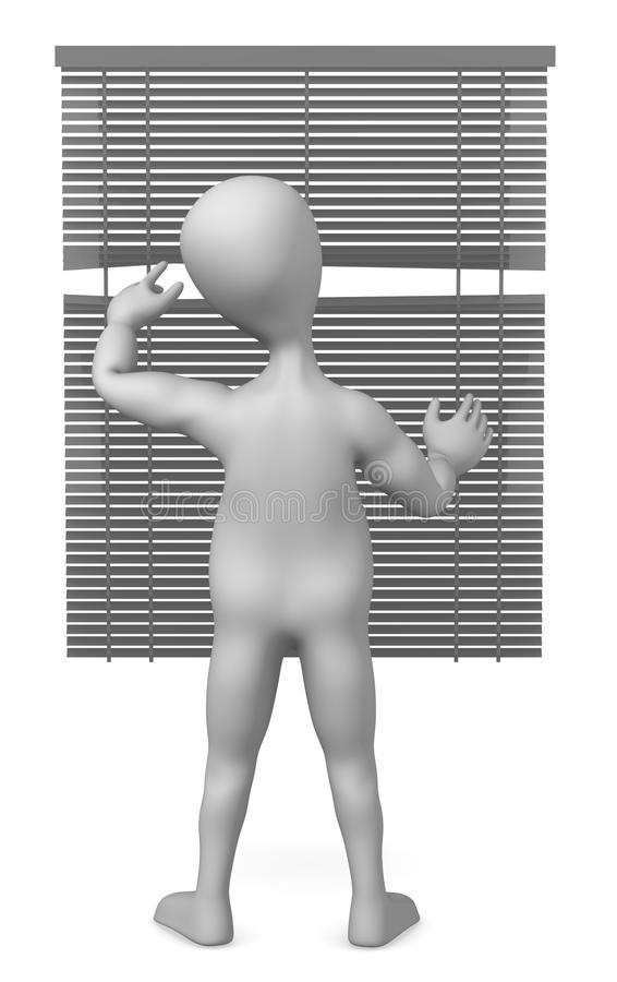 Blinds. 3d render of cartoon character with blinds royalty free illustration