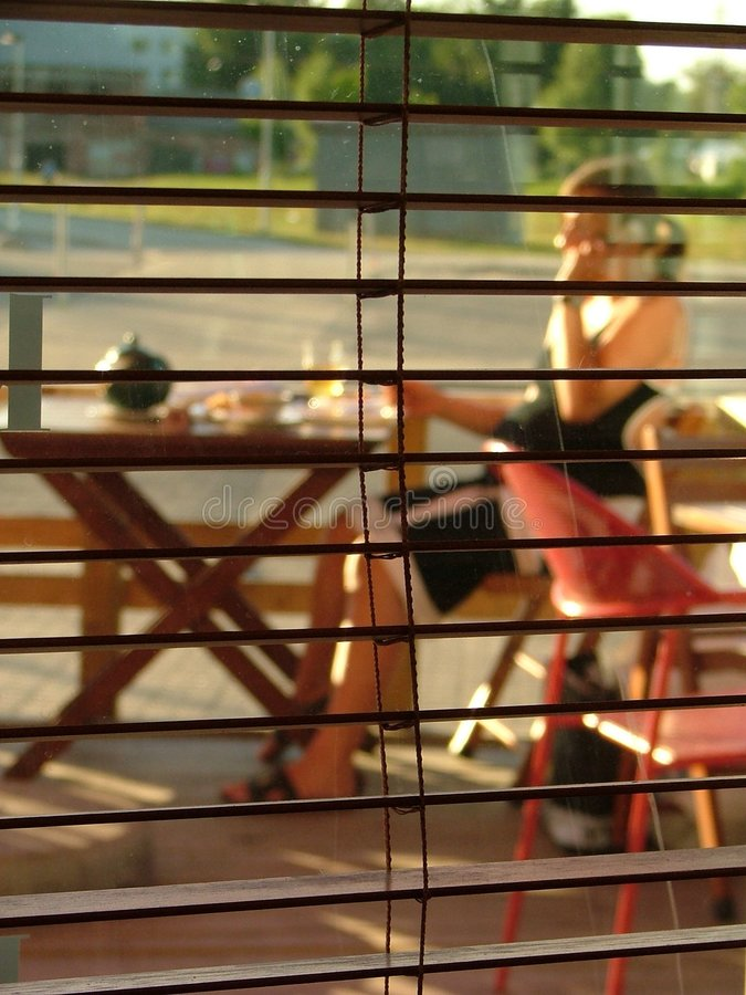 Through blinds stock image
