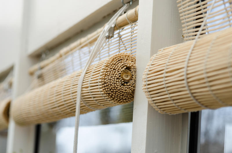 Blinds. In the conservatories. rolled up stock image
