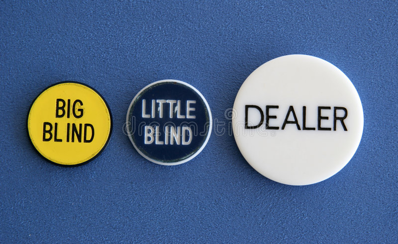 Blinds and dealer button. Big blind, little blind, and dealer button of a poker game royalty free stock images