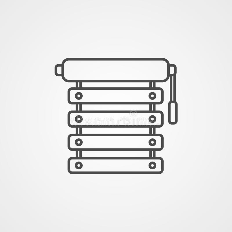 Blinds vector icon. Blinds icon in black monochrome style isolated on white background. Window symbol. Vector illustration royalty free illustration