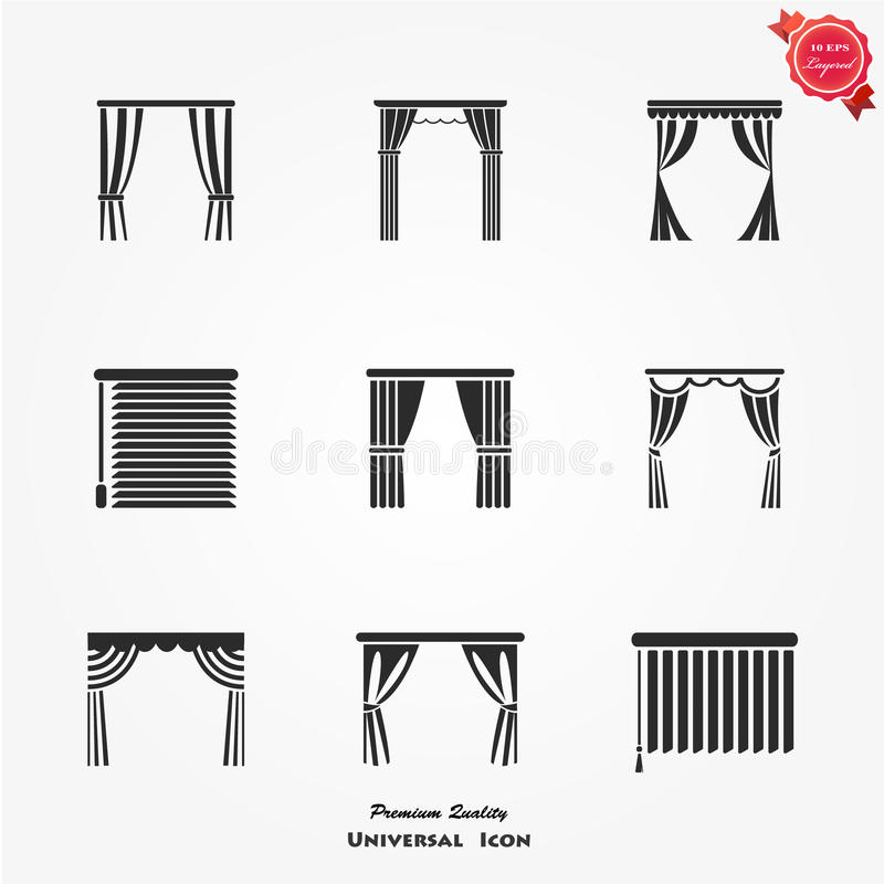 Blinds icons set. Vector set of different blinds stock illustration