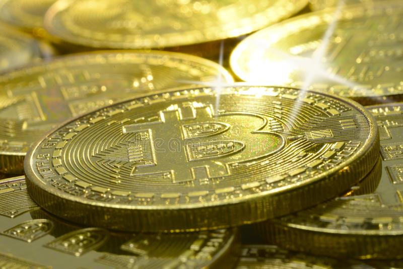 Bling bling on a bitcoin stock image