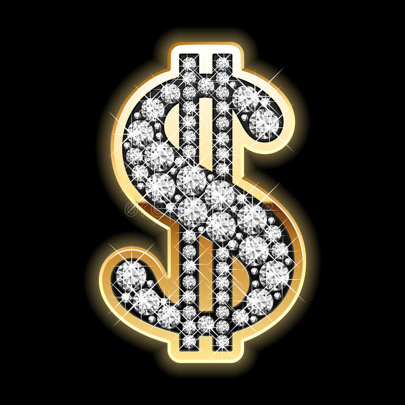Bling-bling. Símbolo do dólar nos diamantes. Vetor.
