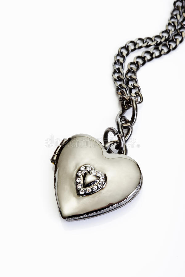 Bling jewellery, necklace, heart shaped pendant royalty free stock images