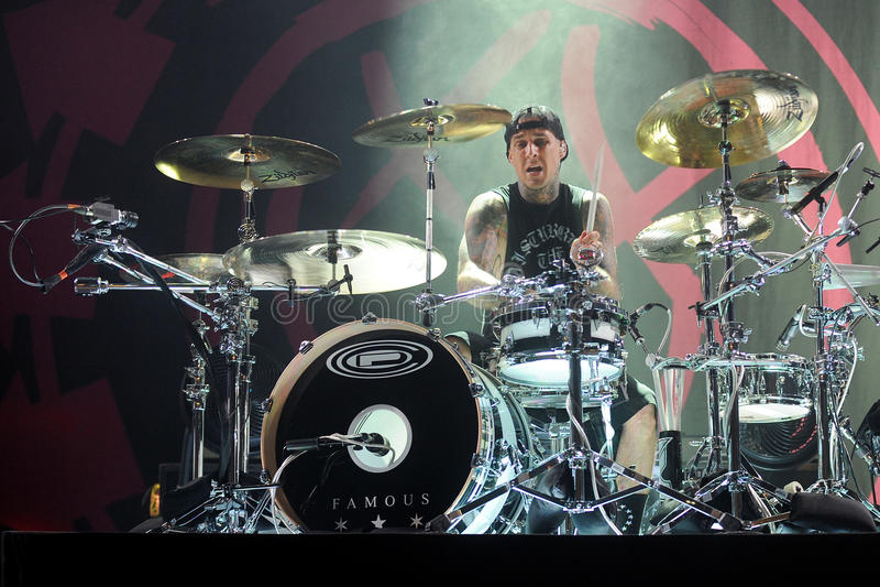 Blink 182. Drummer Travis Barker of Blink 182 during performance in Prague, Czech republic, August 15, 2014 stock photo