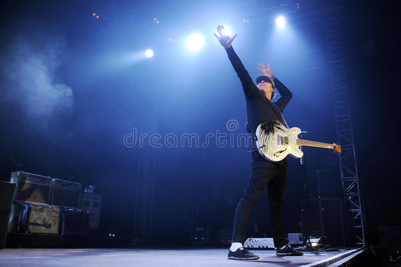 Blink 182. Guitarist Tom DeLonge of Blink 182 during performance in Prague, Czech republic, August 15, 2014 royalty free stock photos