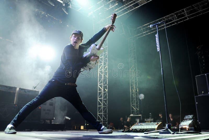 Blink 182. Guitarist Tom DeLonge of Blink 182 during performance in Prague, Czech republic, August 15, 2014 stock photo