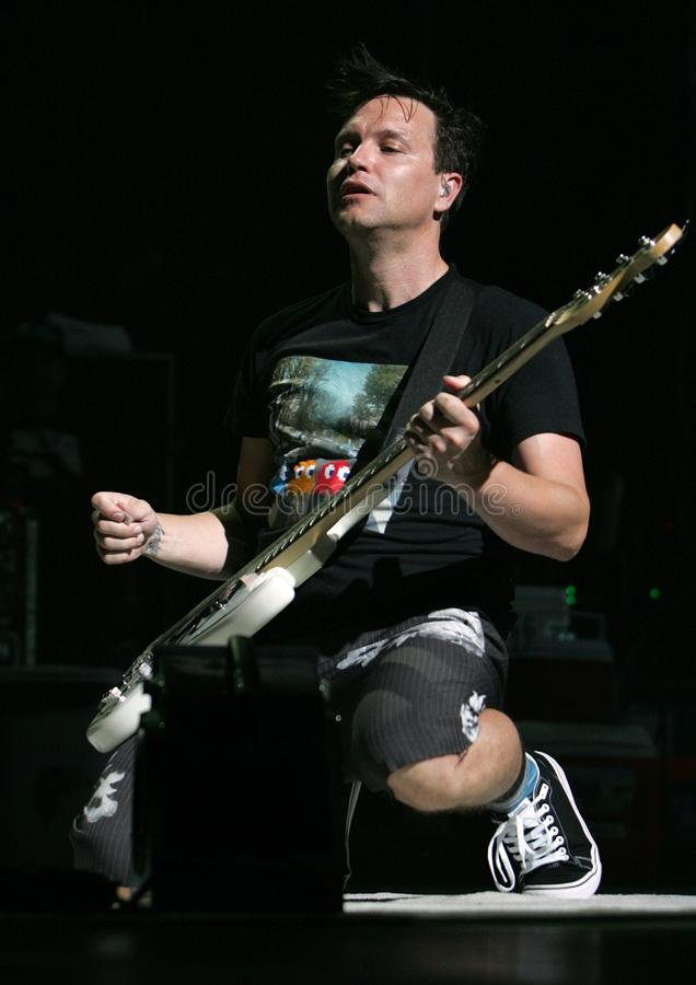 Blink 182 performs in concert. Mark Hoppus with Blink 182 performs in concert on the Honda Civic Tour at the Cruzan Amphitheater in West Palm Beach, Florida on stock images