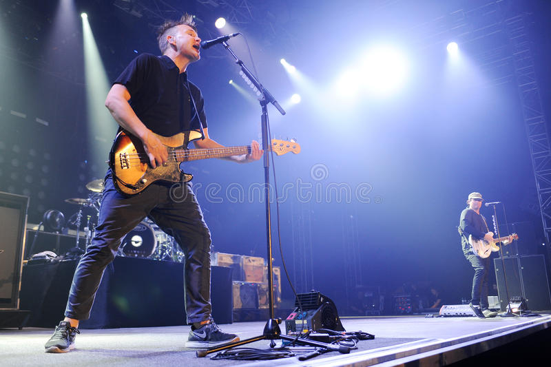 Blink 182. Singer and bass guitarist Mark Hoppus (left) and guitarist Tom DeLonge (right) of Blink 182 during performance in Prague, Czech republic, August 15 royalty free stock images