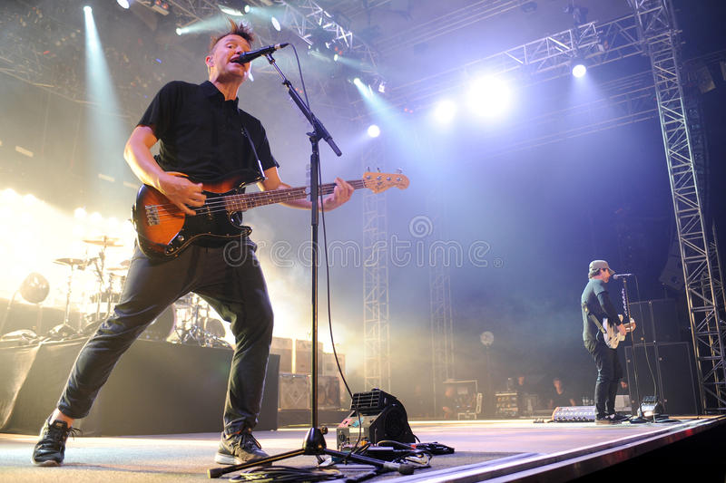 Blink 182. Singer and bass guitarist Mark Hoppus (left) and guitarist Tom DeLonge (right) of Blink 182 during performance in Prague, Czech republic, August 15 royalty free stock photos