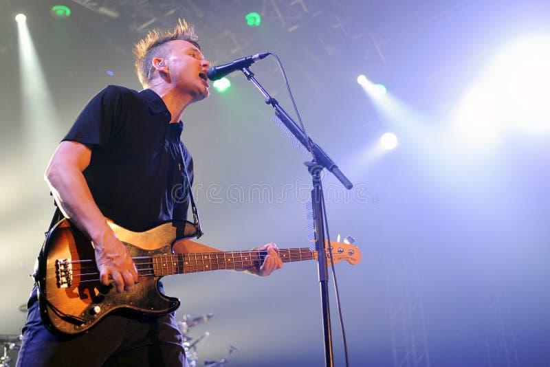 Blink 182. Singer and bass guitarist Mark Hoppus of Blink 182 during performance in Prague, Czech republic, August 15, 2014 stock photo