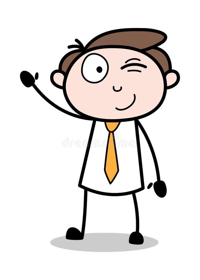 Blinka ögat och vinka handen - kontorsaffärsmanEmployee Cartoon Vector illustration vektor illustrationer