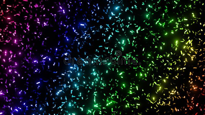 Blinka blänker metalliska konfettier band i regnbågefärger - framme av en svart bakgrund stock illustrationer
