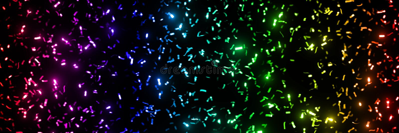 Blinka blänker metalliska konfettier band i regnbågefärger - framme av ett svart bakgrundsbanerformat 3x1 royaltyfri foto