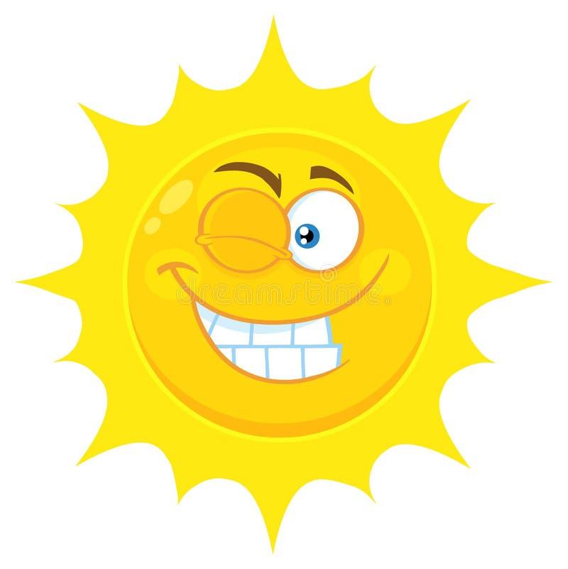 Blinka den gula soltecknade filmen Emoji vända mot teckenet med att le uttryck royaltyfri illustrationer