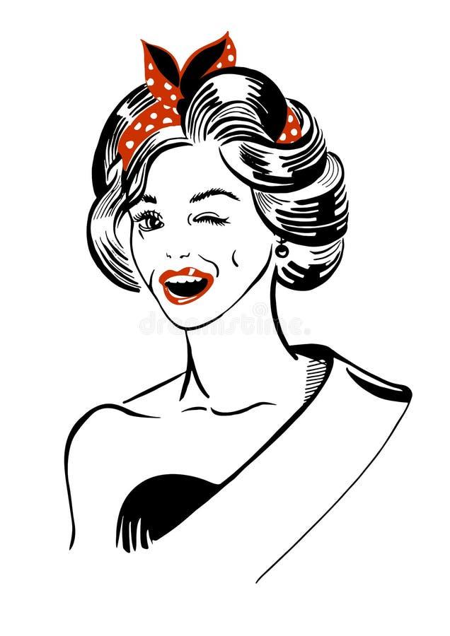Blinka den retro kvinnan vektor illustrationer