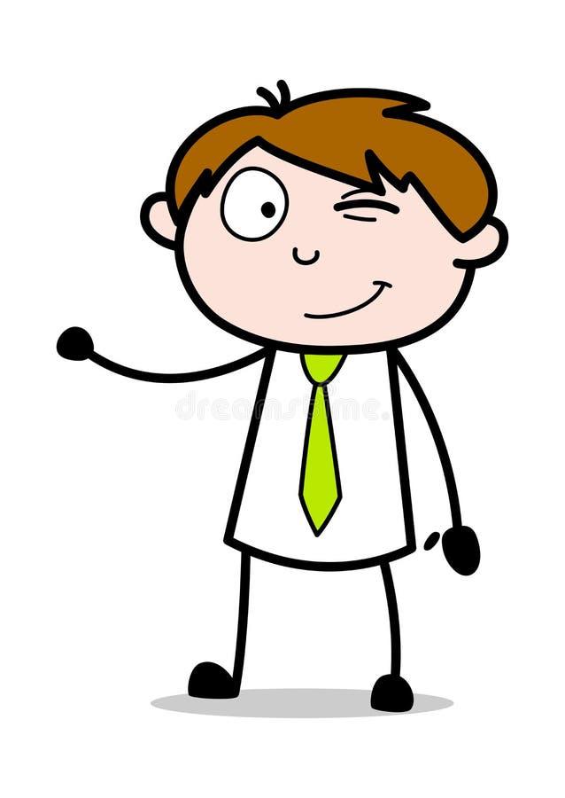 Blinka och framlägga - kontorsrepresentantEmployee Cartoon Vector illustration stock illustrationer