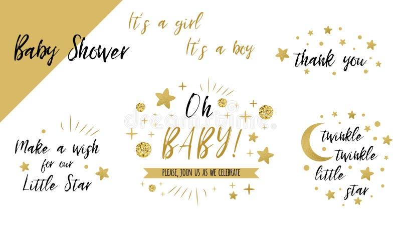Blinkar guld- mallar för baby showeruppsättning för att blinka den lilla stjärnan som text oj behandla som ett barn blänker stjär vektor illustrationer