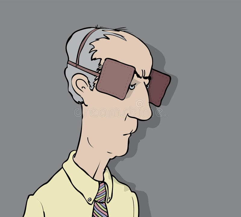 Blinkered. Middle aged man wearing blinkers vector illustration