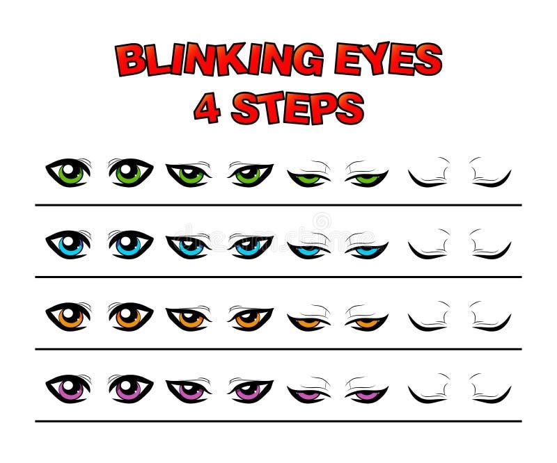 Blinking eyes steps vector preset for character animation design. Isolated on white royalty free illustration