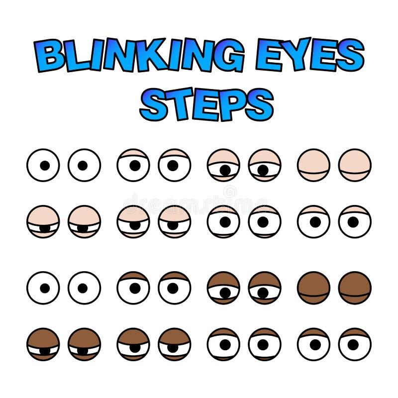 Blinking eyes steps vector preset for character animation design. Isolated on white stock illustration