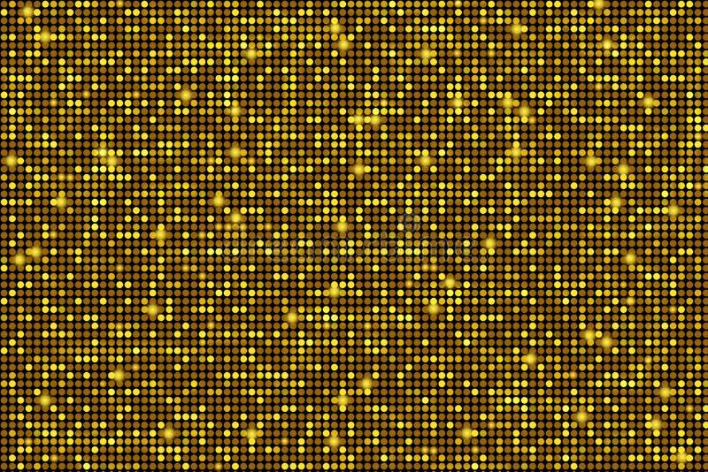 Blinking Golden Background. Shiny Golden Circles Pattern Backdrop royalty free illustration