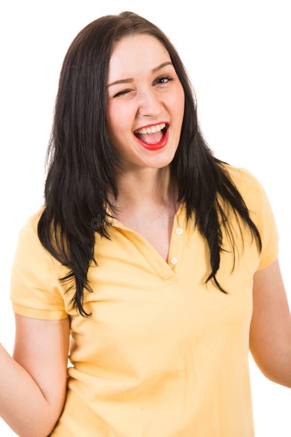Blinking happy woman stock photos