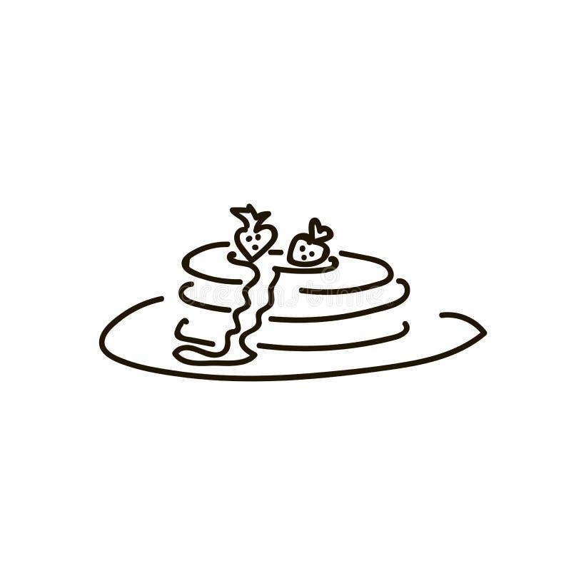 Bliny z czarnymi jagodami, Kokosową śmietanką i Chia wierzchołkiem, royalty ilustracja