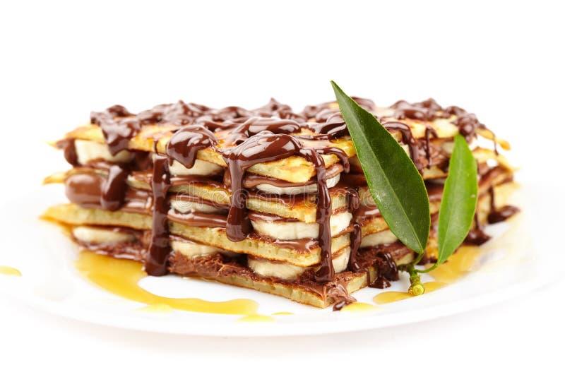 Bliny z czekoladowym syropem zdjęcie stock