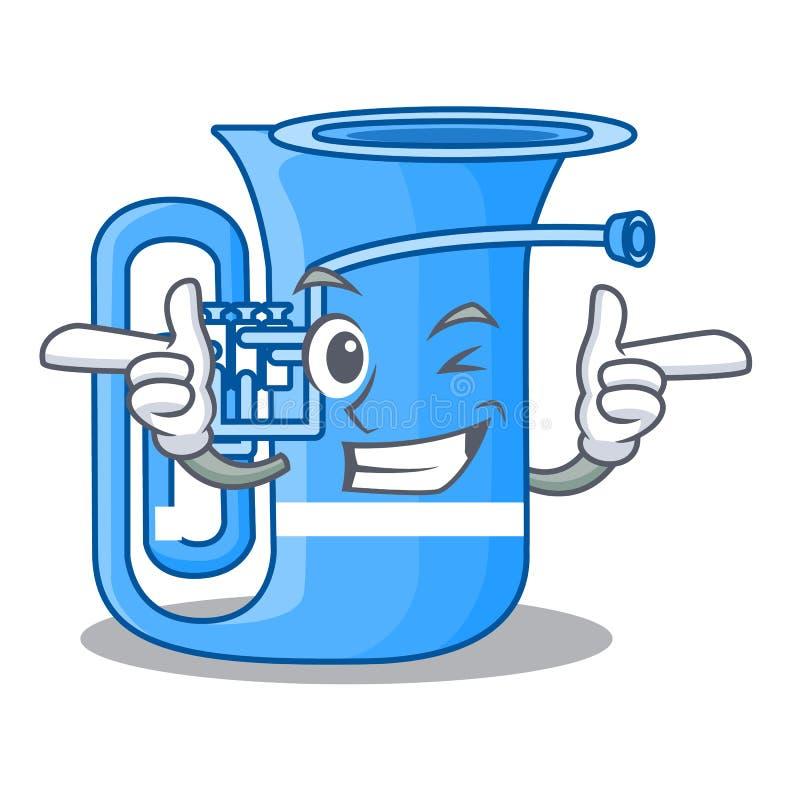 Blinzeln Sie die Tuba, die mit im Charakter lokalisiert wird lizenzfreie abbildung
