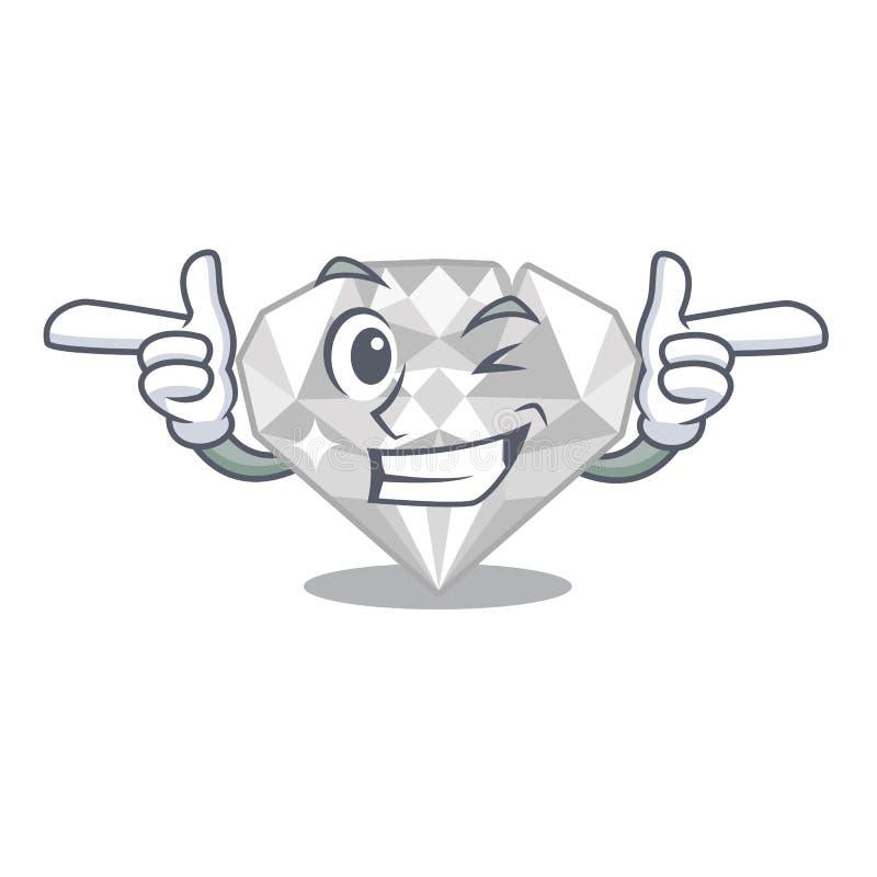 Blinzeln Sie weißen Diamanten in einer Maskottchentasche vektor abbildung