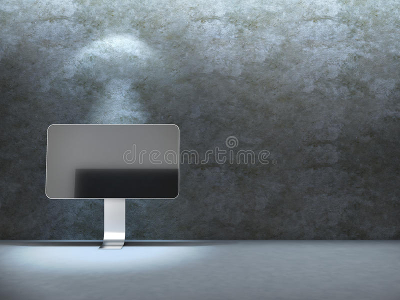 blisko beton monitor izoluje ilustracja wektor