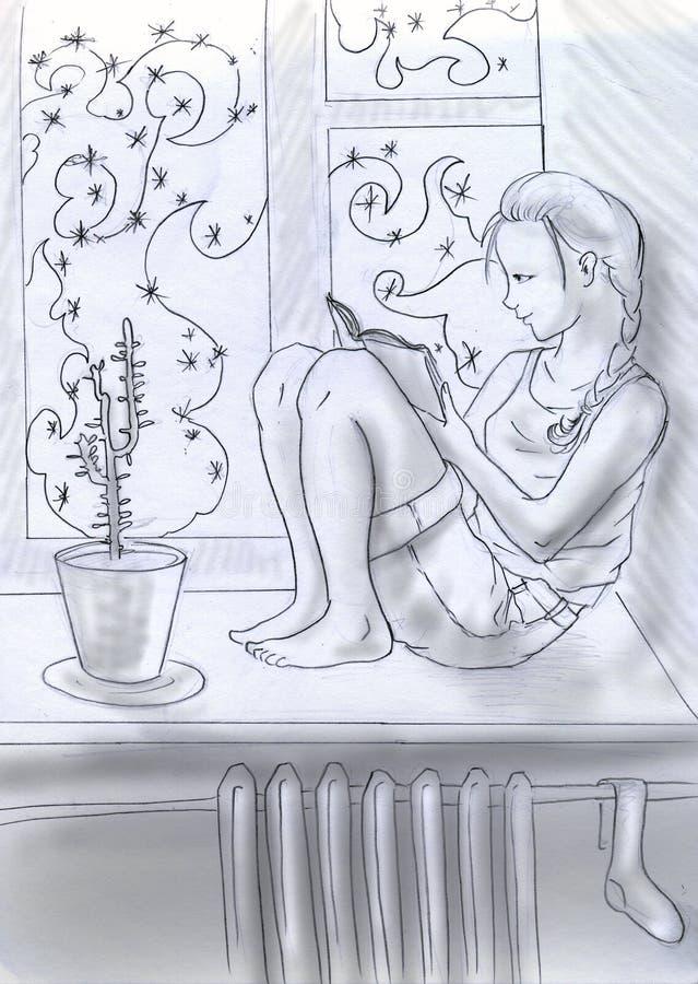 blisko czytelniczej nadokiennej zima ilustracja wektor