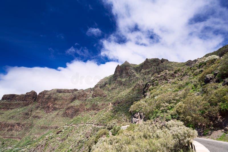 Blisko Mascxa wioski przy Tenerife wyspami drogowymi i szczytowymi obrazy royalty free