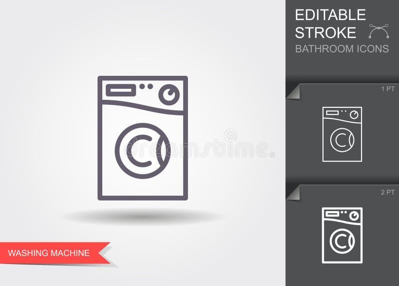 blisko maszyna wystrzelona z mycia Kreskowa ikona z editable uderzeniem z cieniem ilustracji