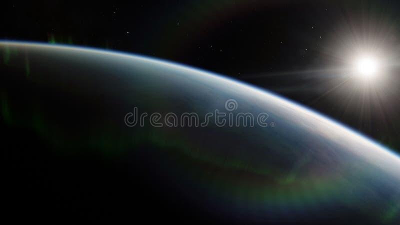 Blisko, niska ziemskiej orbity błękitna planeta Ten wizerunku elementy meblujący NASA ilustracja wektor