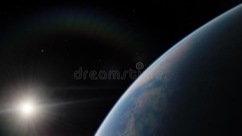 Blisko, niska ziemskiej orbity błękitna planeta Ten wizerunku elementy meblujący NASA zdjęcie royalty free