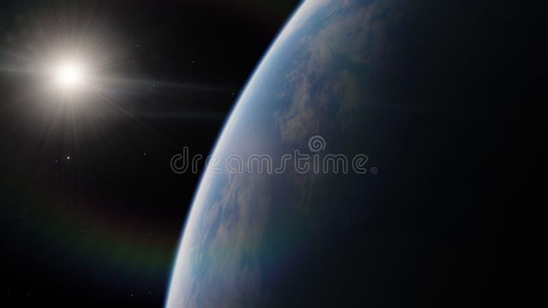 Blisko, niska ziemskiej orbity błękitna planeta Ten wizerunku elementy meblujący NASA zdjęcia stock