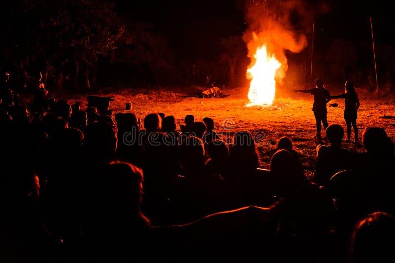 blisko noc palą ognisko w las zdjęcia stock
