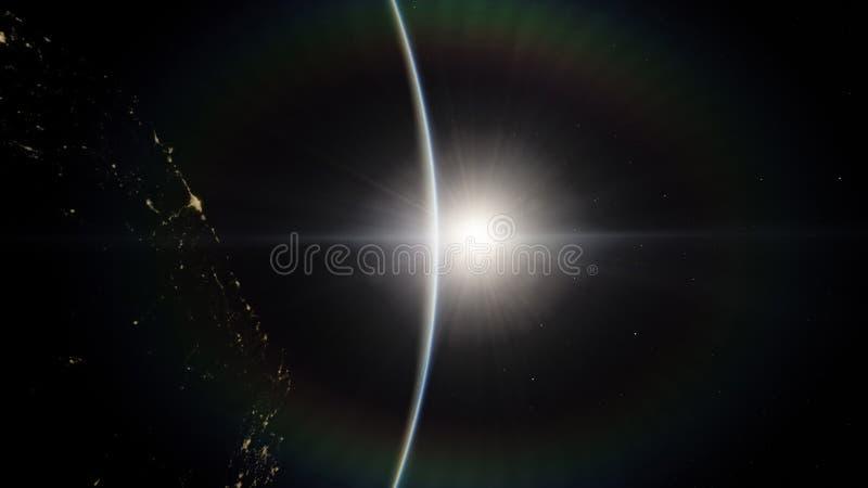 Blisko przestrzeni, ziemia, błękitna planeta Ten wizerunku elementy meblujący NASA ilustracja wektor