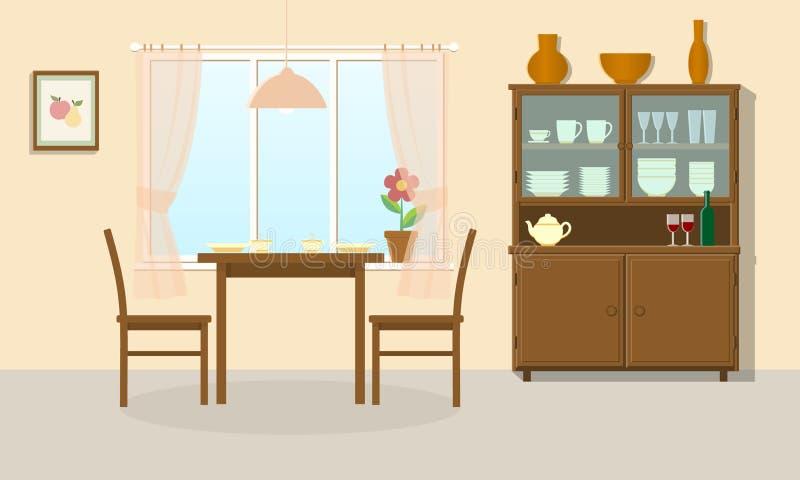 blisko sztućce bang szkła okrągłego stołu w pokoju royalty ilustracja