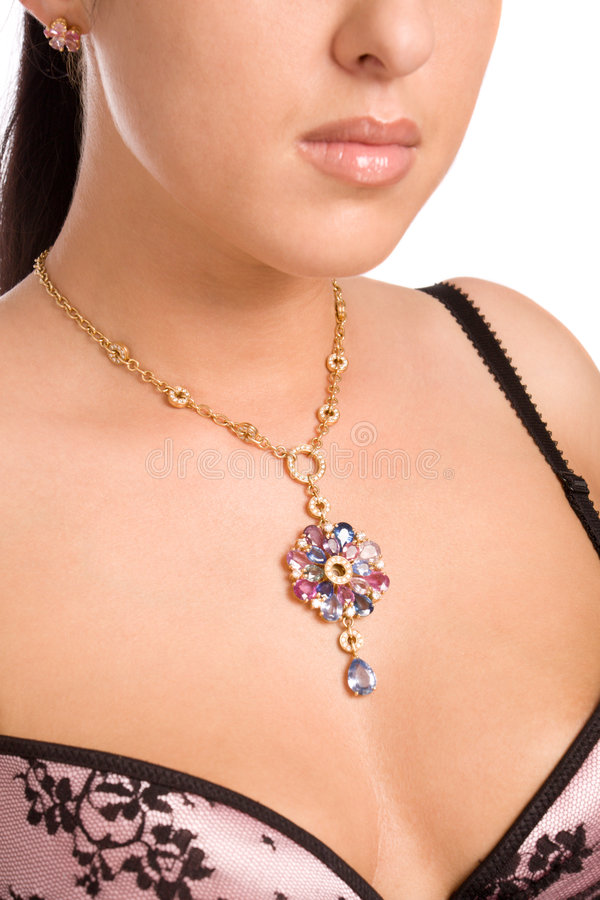 blisko złota biżuterii szyi w górę kobiety obraz royalty free