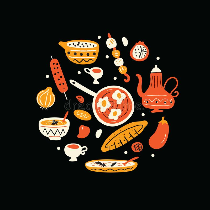 Bliskowschodni jedzenie Ręka rysująca ilustracja w okręgu Tradycyjny kuchni pojęcie wektor Czarny tło royalty ilustracja
